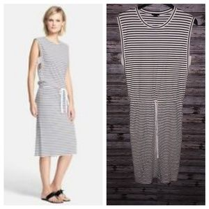 Theory Caneil Stripped Tee Drawstring Shift Dress